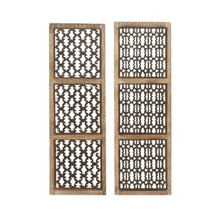 2 Piece Wood Carved Wall Décor Set
