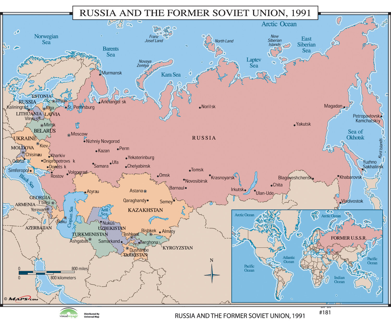 World History Wall Maps - Russia & the Former Soviet Union 1991 on markovo russia map, bashkiria russia map, yaroslavl russia map, vladivostok map, grozny russia map, ufa russia map, novgorod russia map, yurga russia map, moscow map, elista russia map, warsaw russia map, crimea russia map, tatarstan russia map, irkutsk map, tula russia map, samara russia map, serpukhov russia map, astrakhan russia map, tynda russia map, volsk russia map,