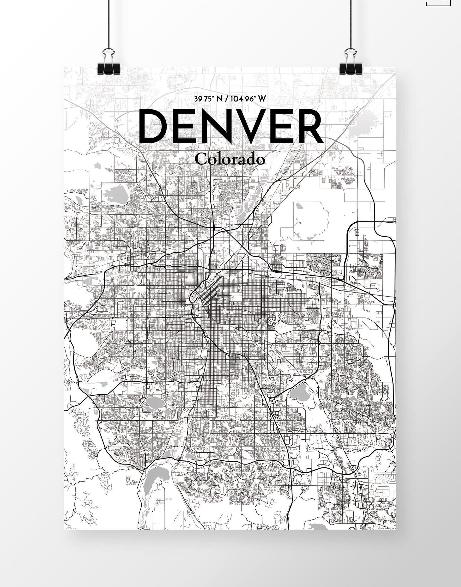 Williston Forge 'Denver City Map' Graphic Art Print Poster in White on