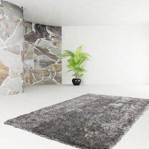 Handgewebter Teppich Premium Shaggy in Grau/ Weiß