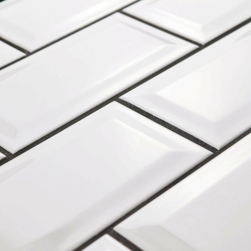 EliteTile Prospect Beveled X Ceramic Subway Tile In Glossy - 4x12 white glossy subway tile