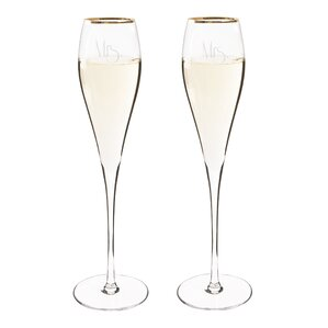 mrs u0026 mrs gatsby champagne flute glass set of
