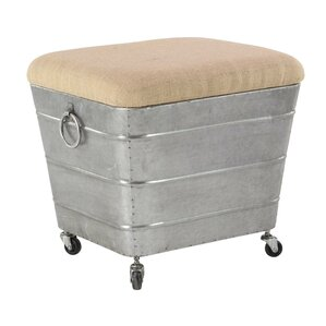 Williston Forge Del Iron and Fabric Cushioned Storage Ottoman on Casters