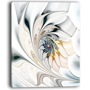 White Stained Glass Floral Large Floral Graphic Art on Wrapped Canvas