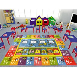 Weranna Abc Seasons Months And Days Of The Week Educational Learning Blue Yellow Indoor Outdoor Area Rug