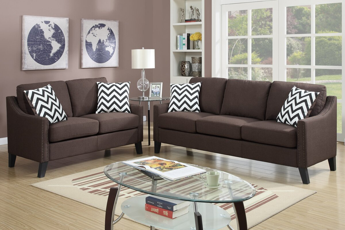 Bobkona Debora 2 Piece Living Room Set