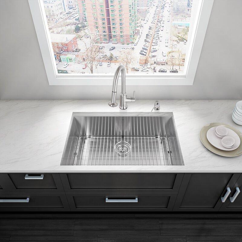 Alma 32 Inch Undermount 16 Gauge Stainless Steel Kitchen Sink