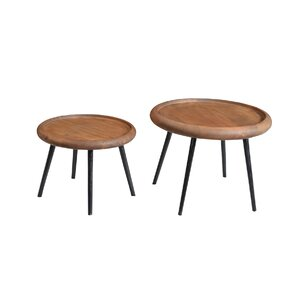 2 Piece Wafer End Table Set by Ibolili