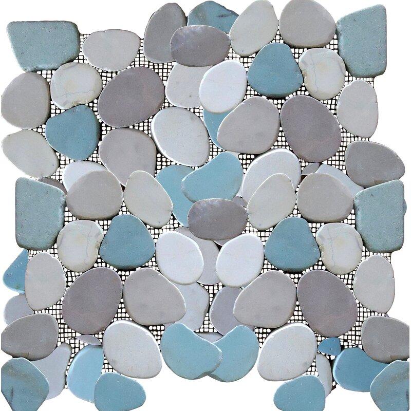 Rocha Random Sized Natural Stone Pebble Tile In Matte Gray Blue