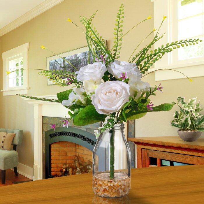 & August Grove White Roses in Glass Vase \u0026 Reviews | Wayfair.ca
