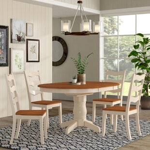 Chretien Transitional 5 Piece Solid Wood Dining Set