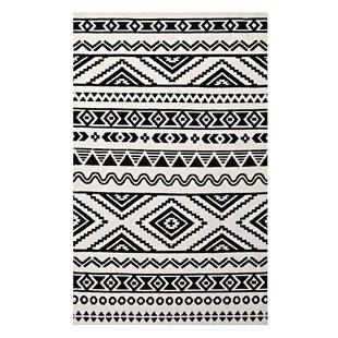 Freedman Geometric Moroccan Tribal Black White Area Rug