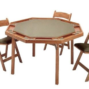 Wood poker table wayfair 57 contemporary folding poker table watchthetrailerfo