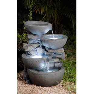 Resin/Fibreglass Tiered Modern Bowls Fountain With LED Light