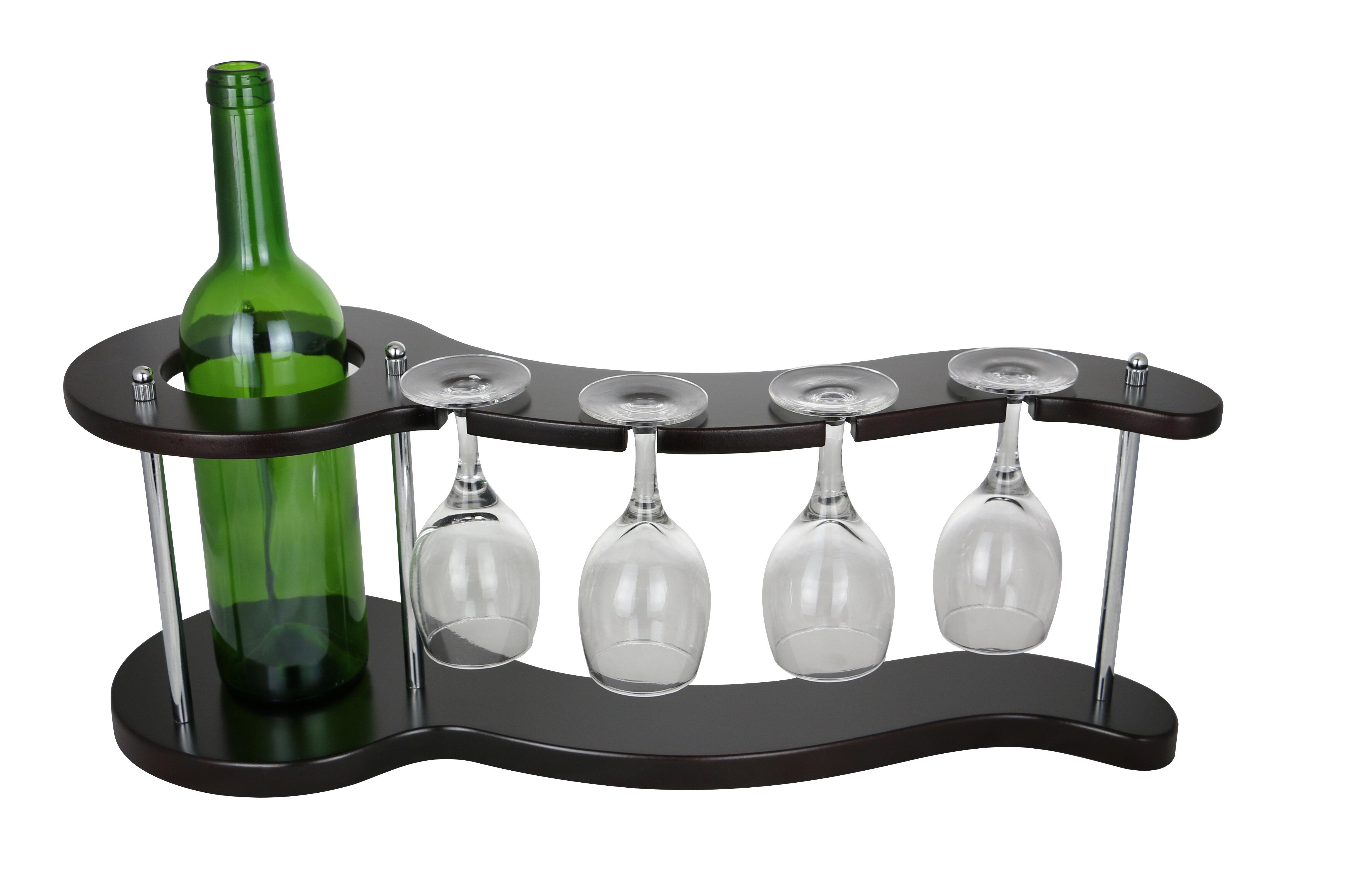 Wine Bos Curvy Display Holder 1 Bottle Tabletop Gl
