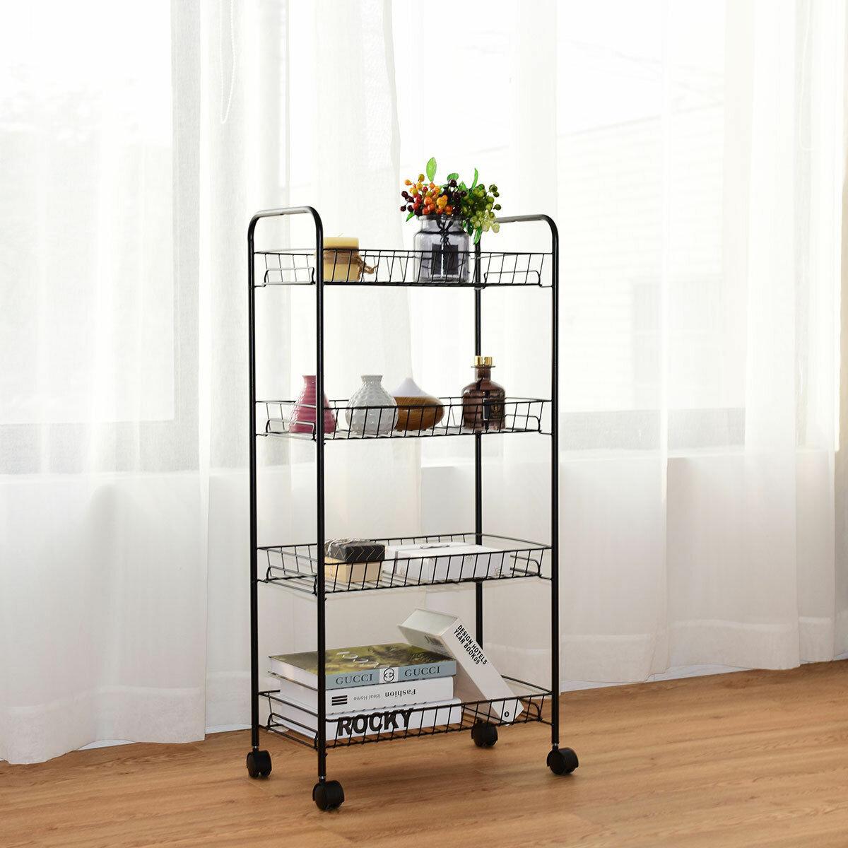 4 Tier Rolling Wheels Tower Rack Baskets Kitchen Bathroom Utility Cart