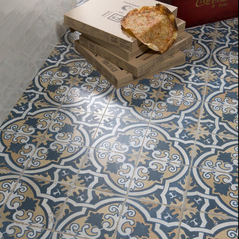 Royalty Canarsie 17 75 X Ceramic Field Tile In Blue Yellow