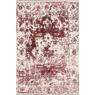 One-of-a-Kind Asenath Hand-Knotted Cream/Dark Red Area Rug Isabelline