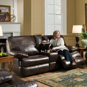 Simmons Upholstery Obryan Double Motion Console Reclining Loveseat by Darby Home Co