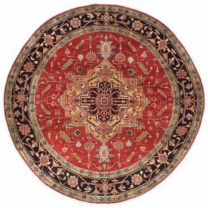 briggs handknotted red round wool area rug