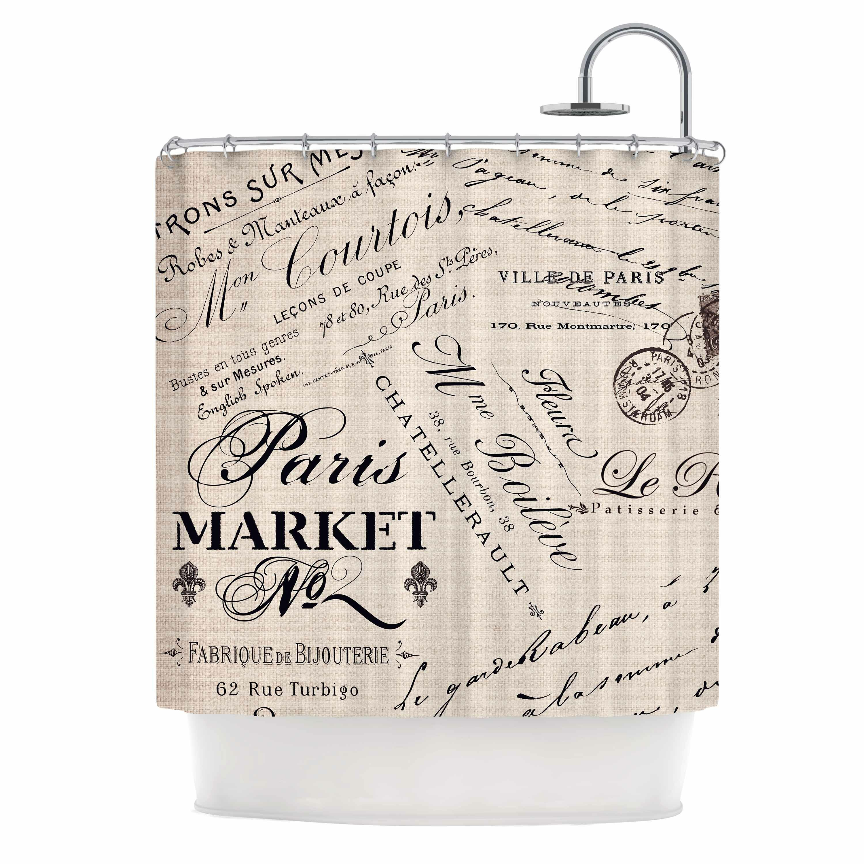 East Urban Home French Script Shower Curtain