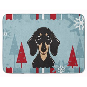 Winter Smooth Dachshund Memory Foam Bath Rug