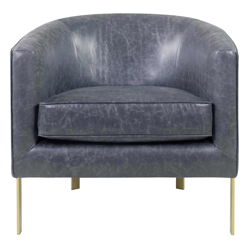 Castiel Bonded Leather Barrel Chair
