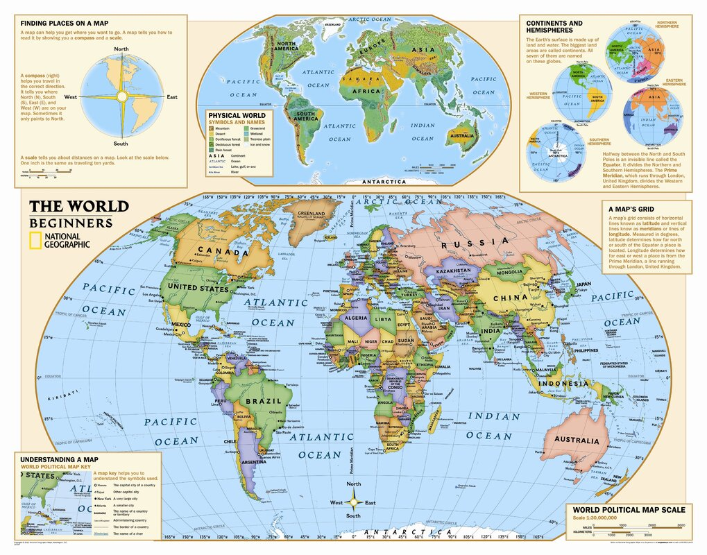 National Geographic Maps Kids Beginners World Wall Map Grades K - Continents map for kids