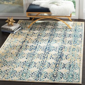 Elson Rectangle Ivory/Blue Area Rug