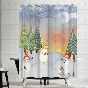Grab My Art SkIIng Snowman In Winterforest With Bunny Single Shower Curtain
