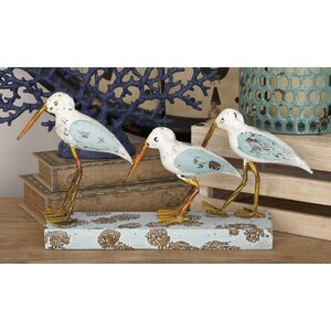 Wood/Metal 3 Birds on Stand Figurine