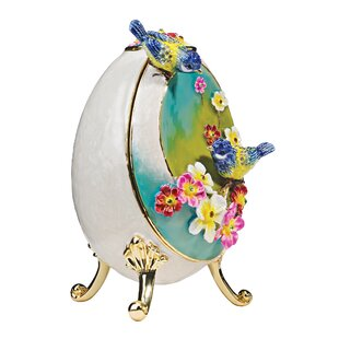 Decorative Bluebirds Faberge Enameled Egg