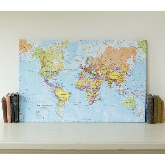 dCor design 'Political World Map' Graphic Art Print on Canvas ... on