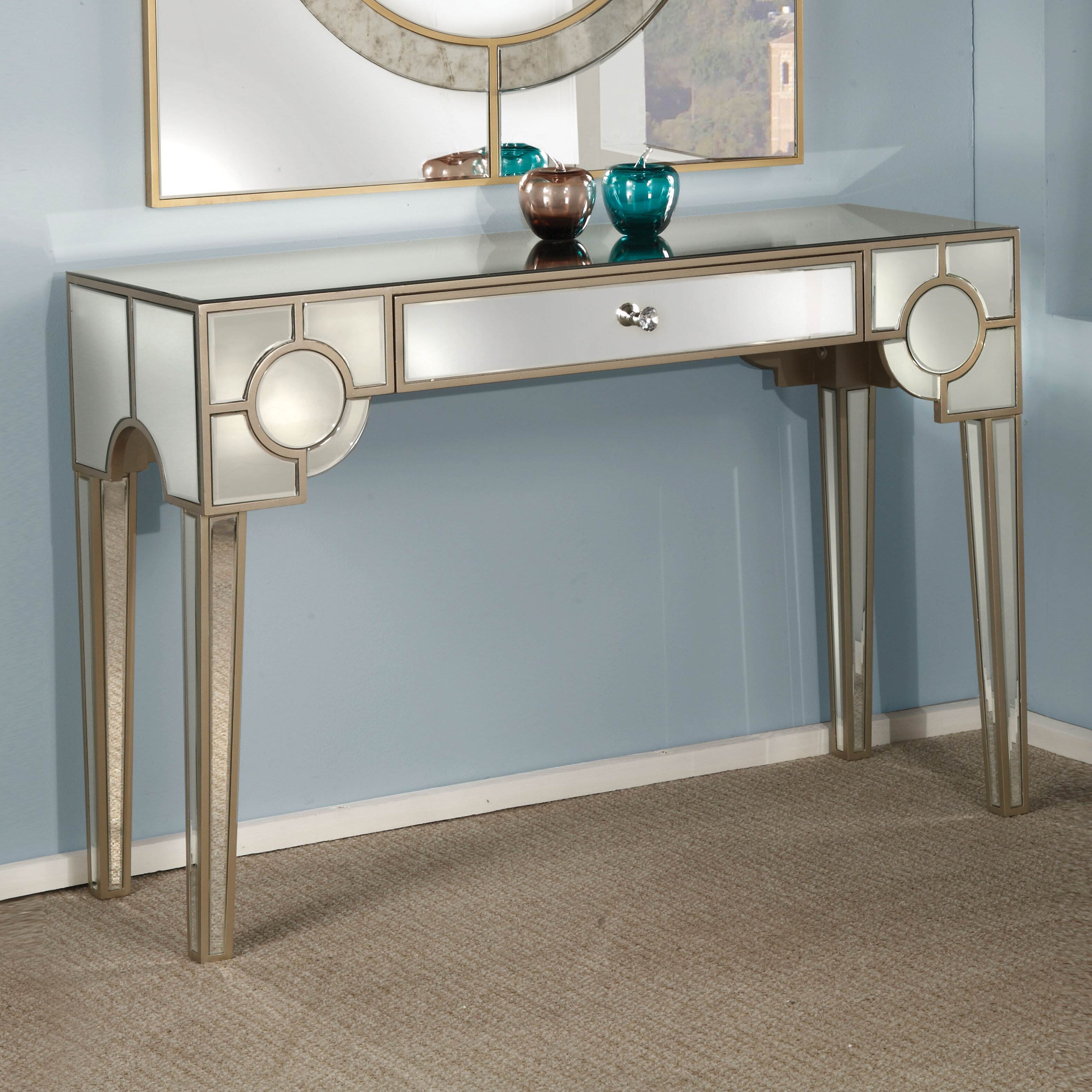 Rosdorf Park Blackshale Mirrored Console Table Wayfair
