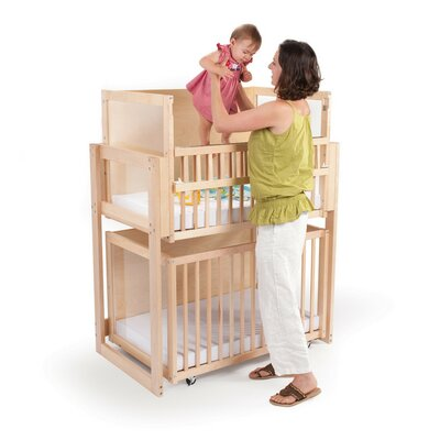 Space Saver 2 Level Folding Portable Crib With Mattress