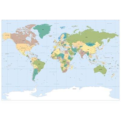 Ebern Designs Wilhelm World Map Wall Mural