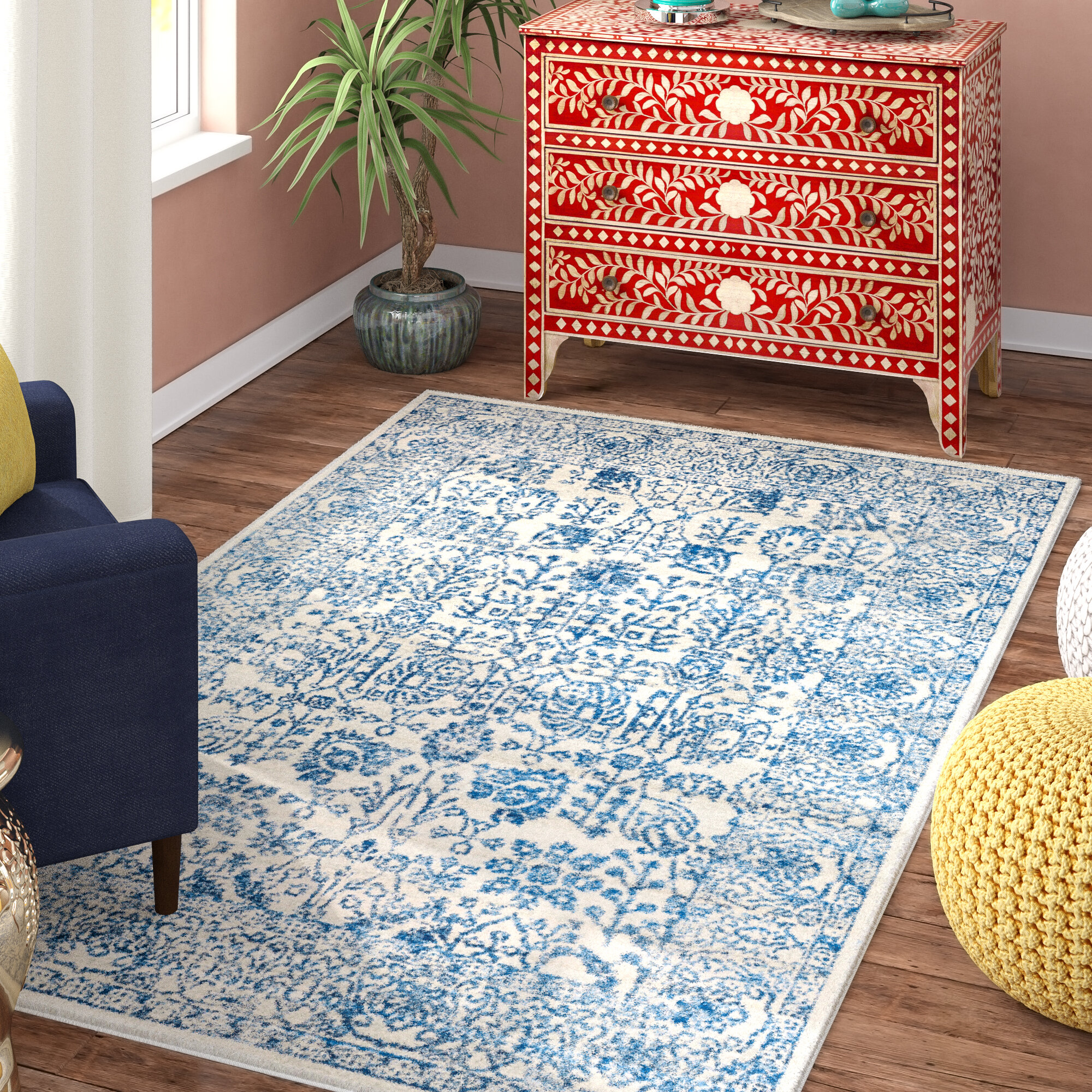 Mistana Hillsby Hand-Woven Blue Area Rug & Reviews | Wayfair