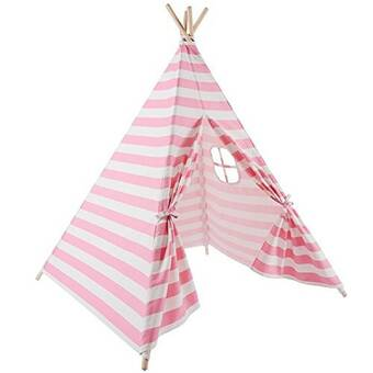 Children Play Tent With Floor Mat Portable Canvas Indian Teepee With Ventilated Window For Indoor And Outdoor Fashionable 2019 New Style Kids Teepee Tent Style; In