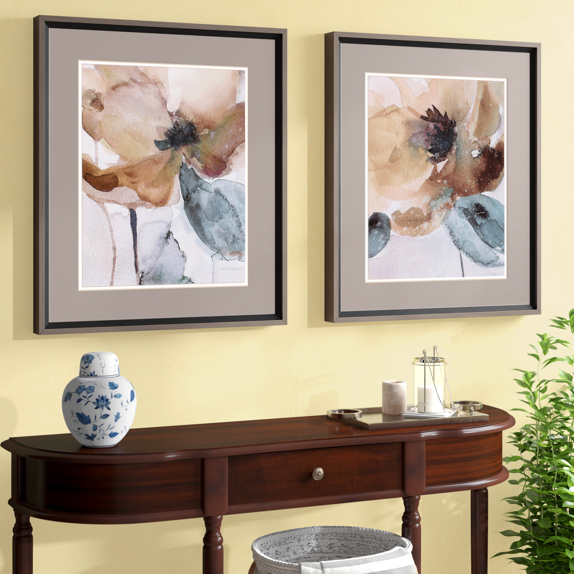 Darby Home Co Poppy 2 Piece Framed Painting Print Set & Reviews ...