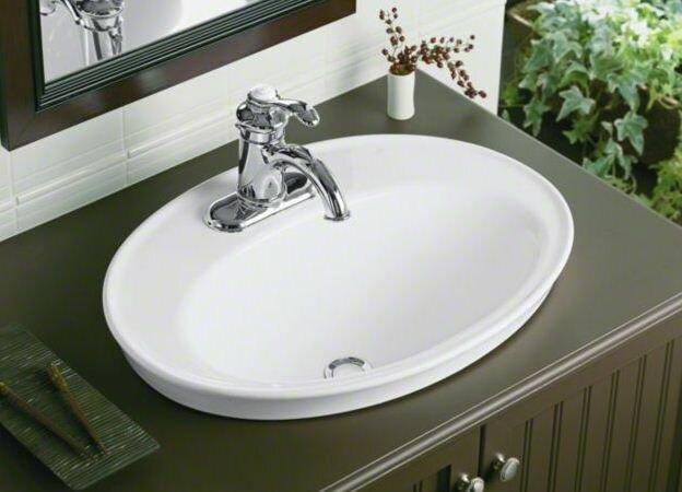 Superb Serif Ceramic Oval Drop In Bathroom Sink With Overflow