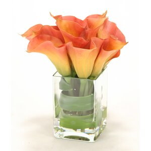 Waterlook Calla Lilies with Tocca Orchid Leaf in Square Vase