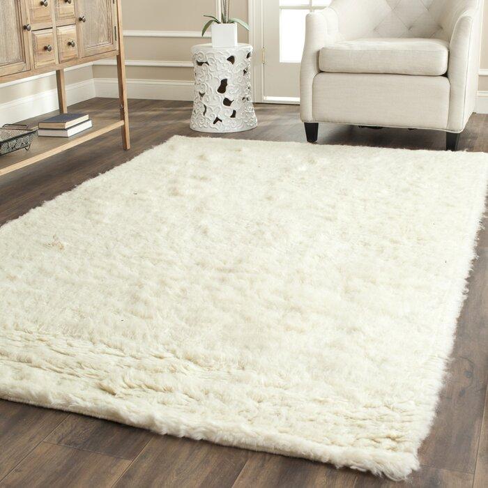 Flokati Hand Tufted Wool Ivory Area Rug