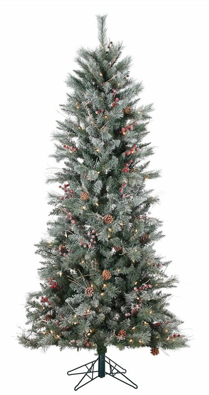 Three Posts 7' Frosted Berry Pine Christmas Tree with 250 Clear ...