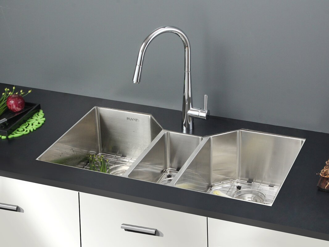 Triple Bowl Kitchen Sinks Ruvati gravena 35 x 20 triple bowl undermount kitchen sink gravena 35 x 20 triple bowl undermount kitchen sink workwithnaturefo