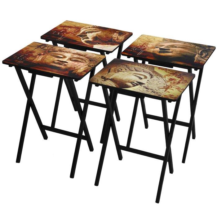 timeless design 73e56 17e98 4 Piece Buddha TV Tray Set with Stand