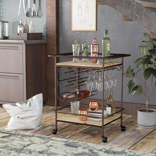 Motes Metal and Wood Wine Bar Cart