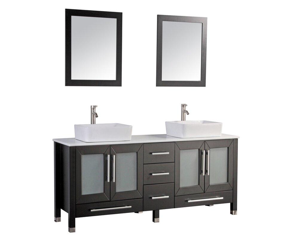double bathroom vanity set. Bosarge 61  Double Bathroom Vanity Set With Mirror Reviews Birch