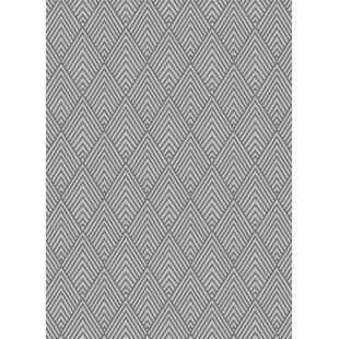 Hereford Trellis Wavy Lines Charcoal/Gray/Silver Area Rug By Wrought Studio