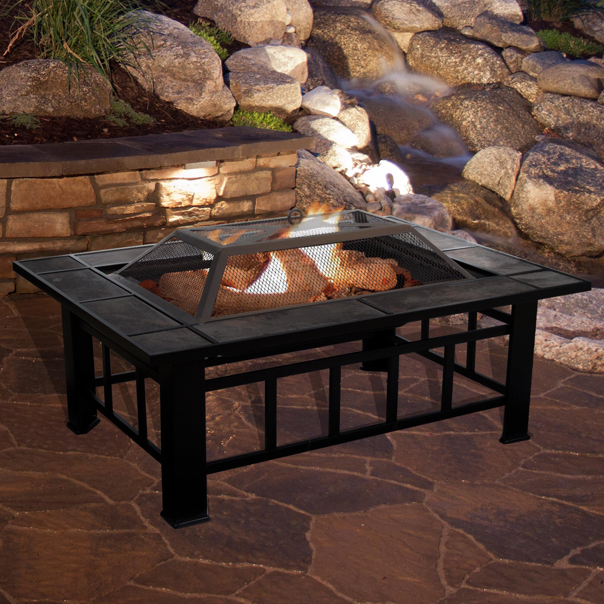 Pure Garden Steel Wood Burning Fire Pit Table Reviews Wayfair
