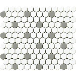 Vintage 75 X Porcelain Mosaic Tile In Gray White Hexagon